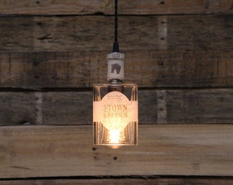 Town Branch Bottle Pendant Light - Upcycled Industrial Glass Ceiling Light - Handmade Bourbon Bottle Light Fixture, Restaurant Lighting