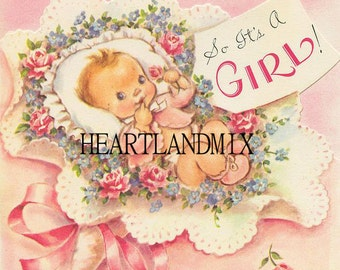 Baby Girl Congratulations Vintage Digital Image Download