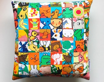 Childrens storytell cushion DIY kit made out of vintage fabrics