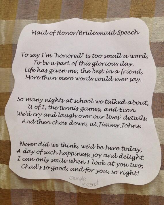 Custom Asking Bridesmaid Maid Of Honor Poem Ideas Request