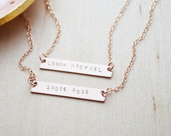 Rose Gold Double Name Bar Necklace - Personalized Rose Gold Filled Bar Necklace - Custom Name Necklace - Tiny Font Name Jewelry