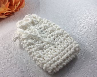 Crochet Soap Saver   Gift for Her 100% Cotton Handmade White Cotton Bath Spa Accessory, Reusable Cotton bath item eco friendly