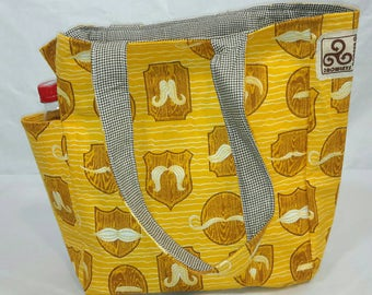 TOTE SALE, Mustache tote, grocery bag, reusable bag, book bag, diaper bag, market, pockets, washable, one of a kind