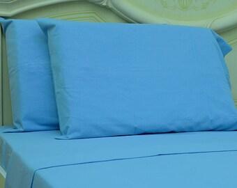 Goza Cotton 190 Gram Heavyweight Flannel Sheet Set Queen - Sky Blue
