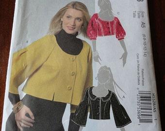 McCalls 5528 Misses Cropped Lined Jacket Pattern size 6-14 UNCUT