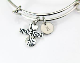 I Love Basketball Bangle, Basketball Bracelet, I Heart Basketball Charm, Basketball Team Gift, Mom Gift, Sport Charm, Personalized B01