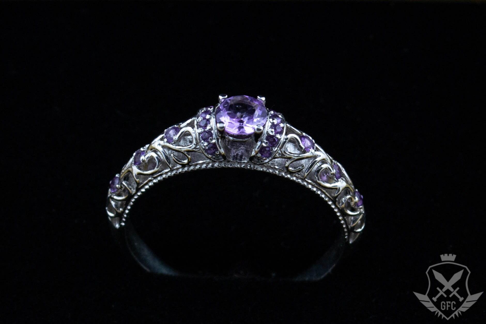 Klassischer Ring Ehering Verlobungsring Mit Amethysten