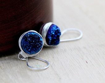 Druzy Silver Earrings , Dangle Bezel Wrapped Drops in Cobalt Blue , Druzy Gemstone Wrapped Stones - The Original Druzy Drops