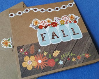 Fall Handmade Card - Recycled Kraft Paper Square Greeting Card, Blank Card with mason jars and autumn flowers