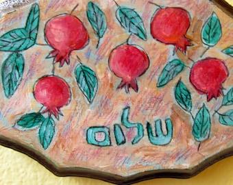 SHALOM Sign, Hand PaintedPomegranate Art, Pomegranate Painting, Art for Peace, Hanukkah Gift, Pomegranate Tree, Painting on Wood, Hebrow