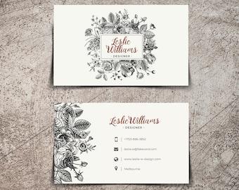 Printable Business Cards - Vintage black and white floral design