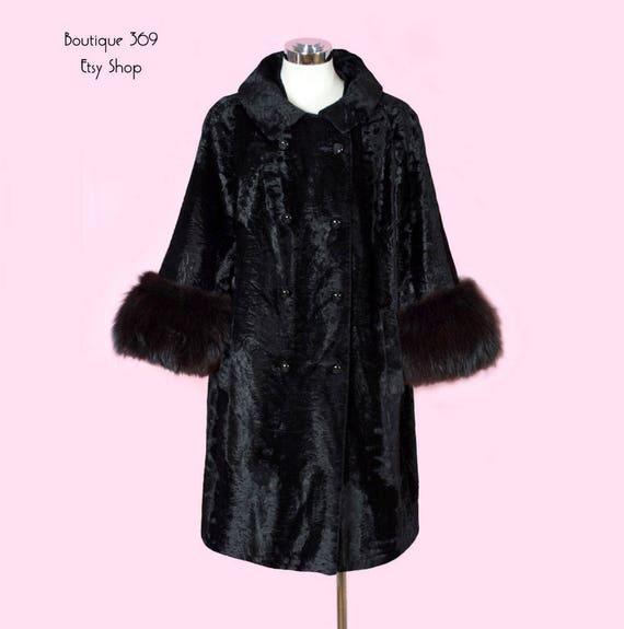 O Style Coat Trim England Audrey MOD style From Fox Fur Era Velvet MEDIUM Black 1960's Jackie amp; Vintage Hepburn Sqw1HXg
