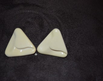 Vintage Large Triangle Stud Earrings / Free Shipping