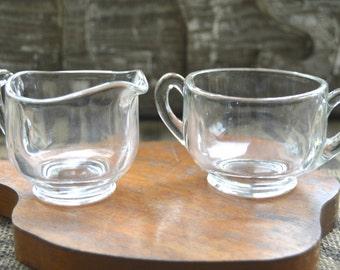 Vintage Glass Sugar and Creamer Set