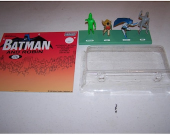 1966 Ideal Official Batman and Robin  Justice League of America figure set Display CARD, STAND,  clear BLISTER pack for your figures