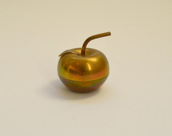 Vintage Mid-Century Brass Apple Trinket Dish