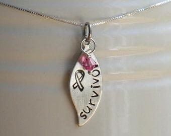 Cancer survivor necklace - awareness necklace - hand stamped - leaf pendant - Swarovski crystal