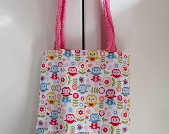 Great bag for library or Tote Bag with owls and two handles rembourees fabric