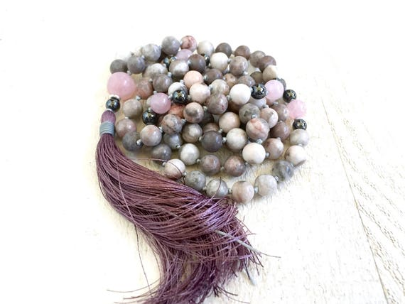 JOY OF LIFE - Mala Beads - Pink Zebra Jasper Mala Necklace - Mala For Natural Healing - Meditation Mala Beads - 108 Mala Beads - Yoga Gifts