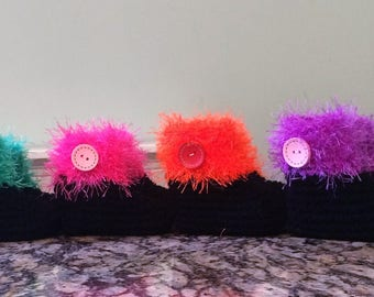 Funky Fur and Buttons Baby Booties