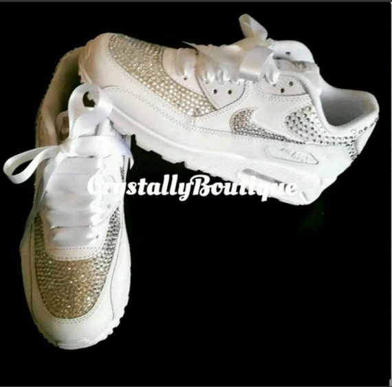 Adult Customised Black Bling Nike Air Max 90 Clear Sparkle Crystals size 6  7 8 9 10 11 UK