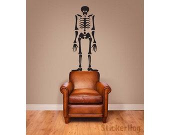 Halloween Skeleton Wall Decal Room Vinyl Wall Decal Graphics Living Room Bedroom Home Decor