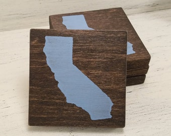 Pick State, Pick Color, California Wood Coasters, Set of 4, Wedding, Housewarming