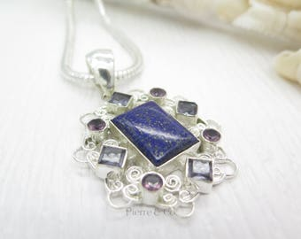 Lapis Lazuli Amethyst Iolite Sterling Silver Pendant and Chain