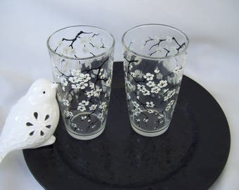 2 Black and White Cherry Blossoms Drinking Glasses Mid Century Asian Glassware Oriental