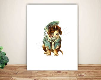 Instant Download  - Vintage Dog in Clothes -  Printable Digital Collage Sheet - Wall Decor - Wall Art - Print and Frame