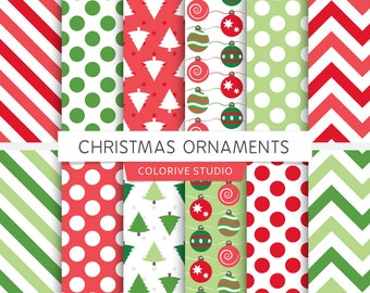 Christmas Ornaments digital paper, Christmas, holiday paper, ornaments, trees, green and red, x-mas, scrapbook papers (Instant Download)