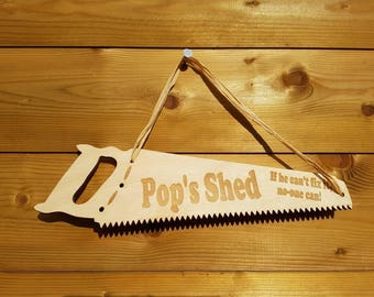 Pop's Shed carpenters SAW birchwood laser cut varnished wall shed mancave sign plaque with engraved words writing and quote