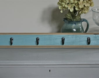 Coastal Rustic Wall Coat Rack with Hooks - Custom Color Distressed - Mudroom, Entry, Bathroom, Bedroom Wall Decor