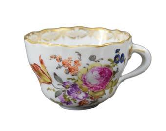 Vintage Meissen Porcelain Floral Tea Coffee Cup - Gold Rim - Cafe au Lait Petit Dejeuner - German Meissen Porcelain China