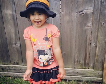 Child's Witch Hat | Kid's Witch Hat | Black and Orange Witch Hat | Childrens Witch Hat | Halloween Witch Costume for Kids | Made To Order