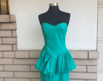 SALE Vintage 80s Strapless Dress Green Peplum Mini Size XS