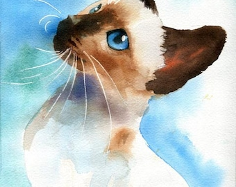 Siamese Seal Chocolate Point cat art Print of my watercolor painting