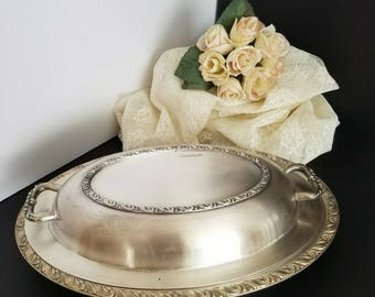 Oval Silver Plated Serving Dish, Silver Covered Entree' Platter, Small Silver Dish with Lid, Kitchen & Dining, Gift Giving