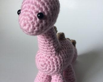 Ready to Ship - Pink Brontosaurus, Crochet Dinosaur, Amigurumi Dinosaur, Dinosaur Plush, Brontosaurus Plush, Stuffed Animal, Desk Buddy