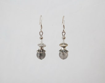 Jewelry-earrings natural stone-gray Quartz gemstones