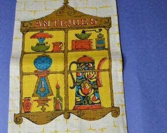 """ON SALE  A Linen Tea Towel that says """"Antiques"""""""