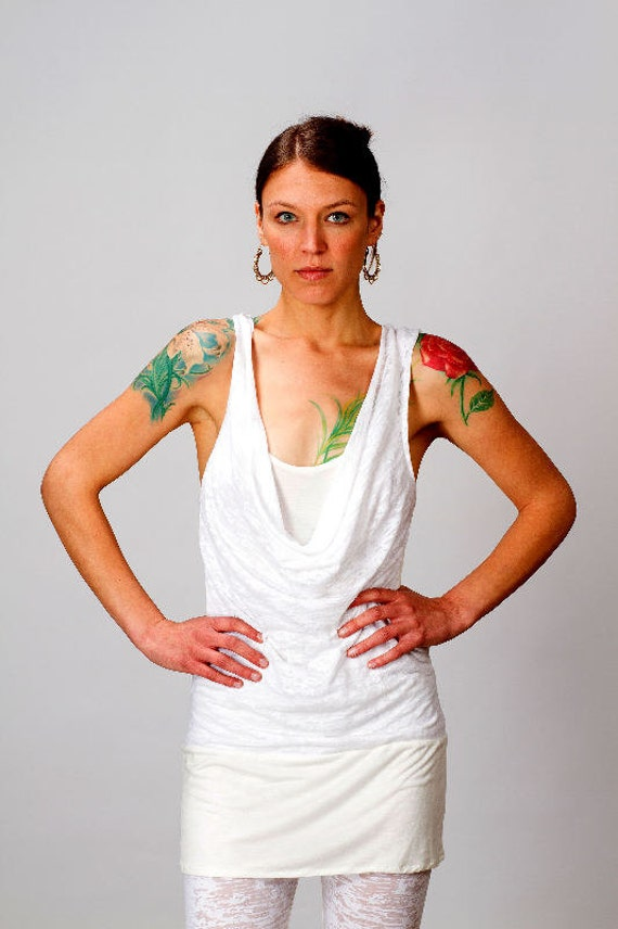 Maya Calico Cowl Front Tank Dress in White for Womens Fashion Yoga Wear  Boho Chic Gift for her Wholesale