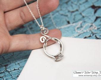 SALE - Magic Ring Holder Necklace, Wedding / Engagement Ring Holder Pendant, Argentium Sterling Silver