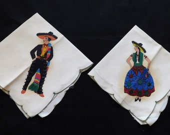 Pair of Vintage Silk Hankies with Spanish Man and Woman Handpainted Glittered/ Souvenir- 112