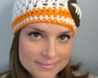 Tennessee Volunteers Football Beanie, Crochet football hat, Football team colors, Adult football hat, winter hat (choose team)
