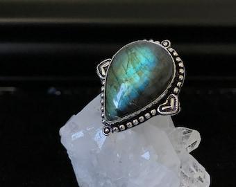 Loveheart Labradorite Ring