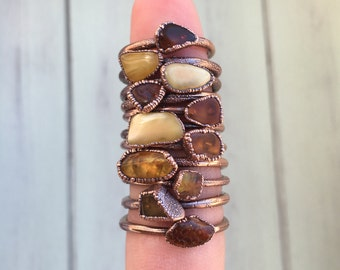 Baltic Amber Ring - Unique Crystal Ring - Amber Electroformed Ring - Stacking Ring