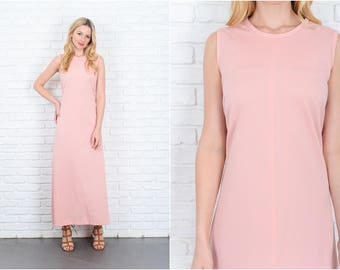 Vintage 70s Pink Mod Dress Boho A Line Maxi Sleeveless medium M 9341