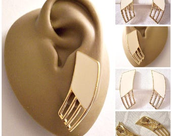 Monet Beige Windowpage Bars Clip On Earrings Gold Tone Vintage Long Curved Open Ribs Brushed Backs Comfort Paddles