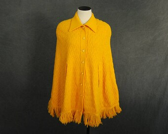 Clearance SALE vintage 60s Sweater Poncho - 1960s Yellow Knit Sweater Poncho Cape Sz XS S
